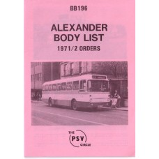 BB196 Alexander built to 1971 & 1972 orders
