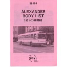BB196 Alexander 1971 & 1972 orders