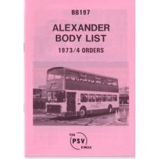 BB197 Alexander 1973 & 1974 orders