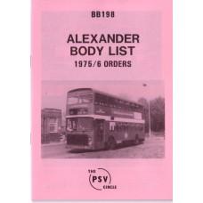 BB198 Alexander 1975 & 1976 orders