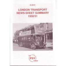 2L50 1950/51 London Transport News Sheet Summary