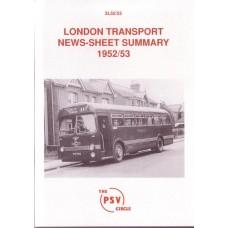 2L52 1952/3 London Transport News Sheet Summary