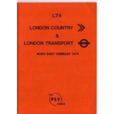 L74 London Country & London Transport News Sheet Summary 1974